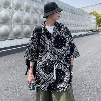 DX1513'中性风大码情侣宽松个性几何图形短袖衬衫P45控价58黑色