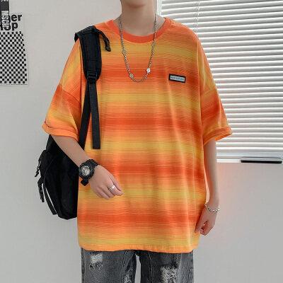 DX1073'情侣大码宽松中性风拼色条纹短袖T恤P35控价48桔色