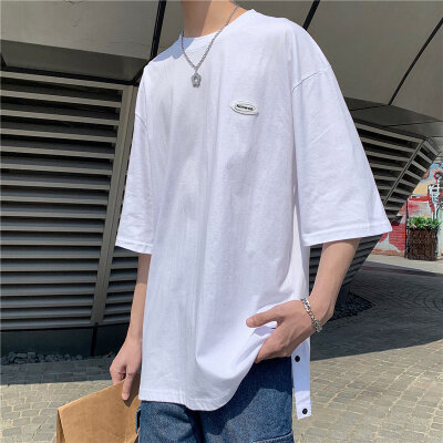 短袖t恤男夏季韩版纯色百搭半袖上衣港风潮流潮牌宽松休闲体恤衫