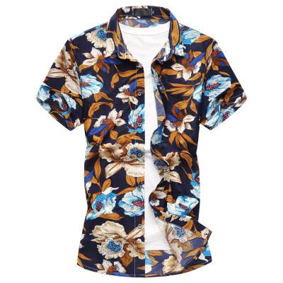 男式花衬衫短袖宽松大码男生微弹力衬衫花短袖衬衣半袖226p30