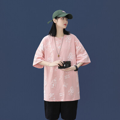 中性风-敏紫  DT126-P30   100%棉   2021夏季宽松短袖大码半袖潮