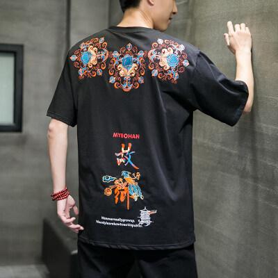 2021夏季新款中国风国潮刺绣设计短袖针织T恤D131P65