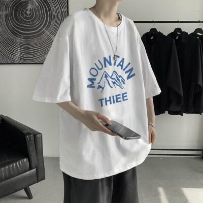 字母短袖T恤宽松潮牌情侣半截袖港风日系休闲衣服夏 T846-P35