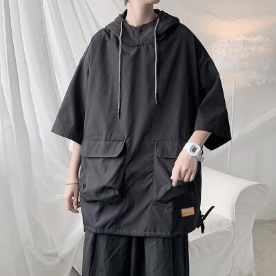 男士休闲纯色夹克外套外穿青春连帽防晒衣五分袖JK510P35