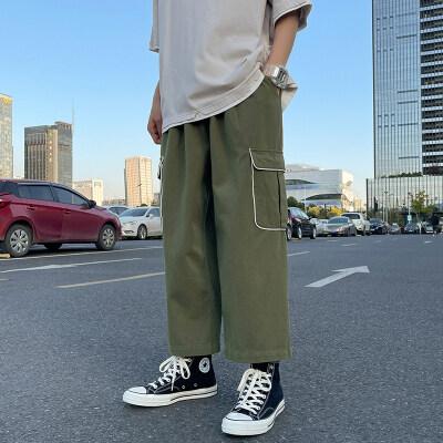 男士纯色休闲裤九分裤阔腿工装裤K061P35