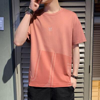 75829-P40潮牌短袖t恤男士夏季新款韩版潮流港风半袖打底衫体恤男