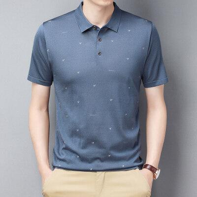 夏季男士短袖t恤翻领桑蚕丝商务休闲冰丝印花polo衫爸爸装0702P60