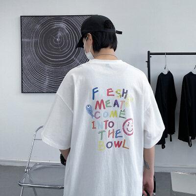大皂风-敏紫  DT6212-P25   100%棉   夏季新款大码短袖印花T恤男