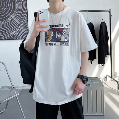 大皂风-敏紫   DT6205-P25   100%棉  夏季新款大码短袖印花T恤男