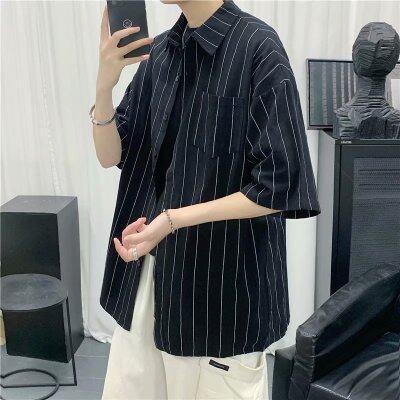 夏季短袖衬衫港风潮流男日系休闲五分袖条纹棉麻衬衣 C06314-P35