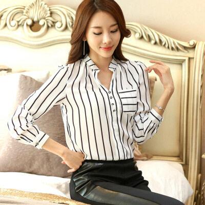 雪纺衫长袖秋装新款女装上衣百搭宽松条纹黑白V领