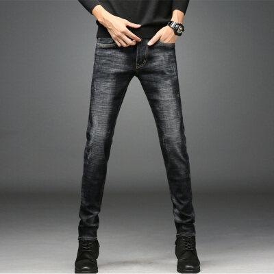 1829新款黑色牛仔裤男小脚长裤青年秋季弹力男款韩版修身男裤子潮