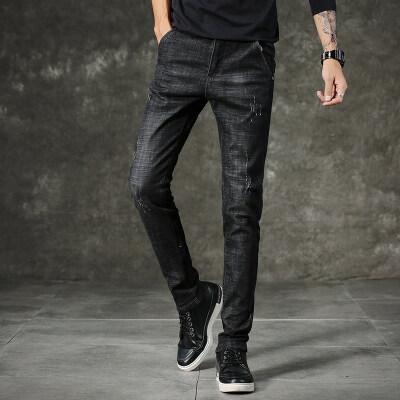 713- 4青年韩版男装破洞弹力修身牛仔裤男士显瘦小脚长裤子潮