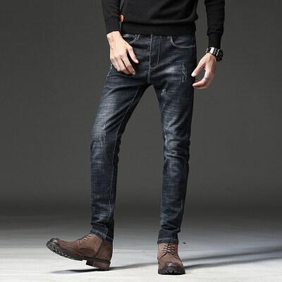 712-1秋冬黑色破洞牛仔裤男修身小脚青年直筒弹力韩版裤子