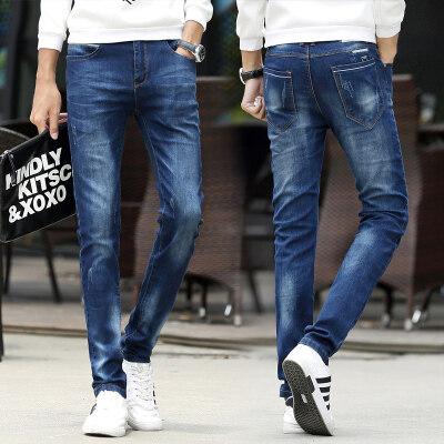 5502-2秋季新款男士牛仔裤修身直筒青少年小脚修身牛仔裤
