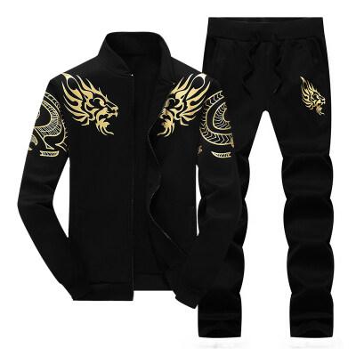 运动套装男中国风龙头印花长袖休闲裤开衫卫衣两件套跑步跨境热卖