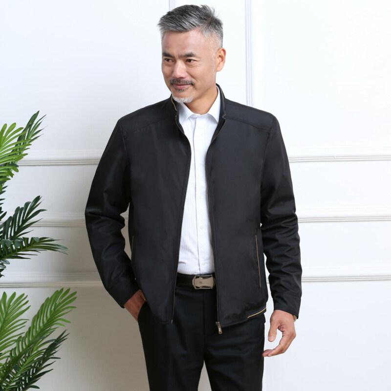 2020新款春装立领男士夹克外套男宽松保暖装中老年夹克男