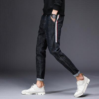 2017秋冬新款男士牛仔裤 修身弹力松紧系带小脚裤长裤青年潮裤