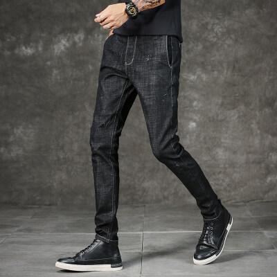 715 #休闲风格  秋冬新款棉弹力时尚修身牛仔裤小脚直筒男士长裤2
