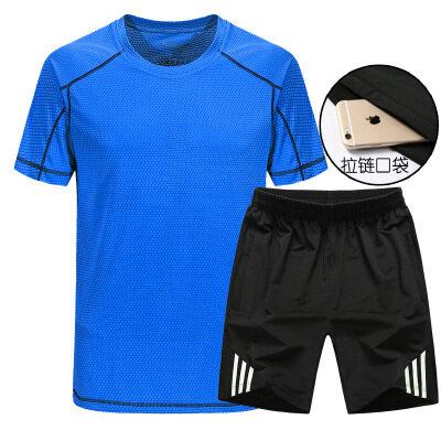 19夏季速干运动短袖短裤套装男休闲运动跑步透气大码薄款男短套