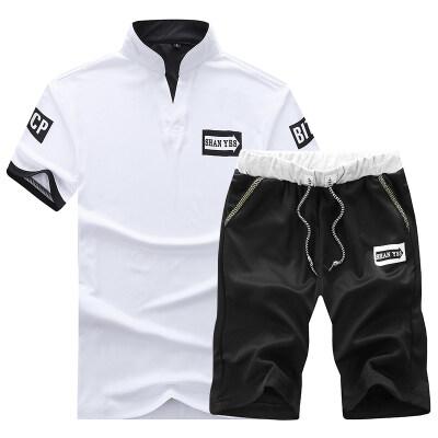 2018夏季短袖短裤男休闲运动学生青少年套装两件套