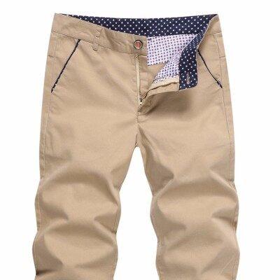 纯棉休闲裤男夏季新款男士七分裤修身男裤纯色薄款青少年休闲裤