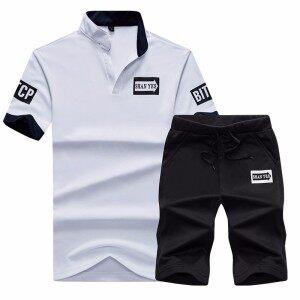 跨境夏季短袖D47短袖套装潮版修身男装穿起来好看又舒服