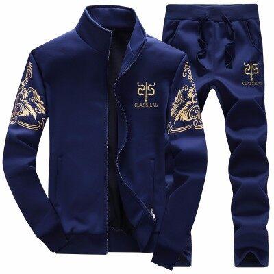 跨境专供春秋季休闲运动套装男拉链外套裤子青少年Y7两件套男装
