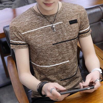 M-4XL夏季男士短袖t恤冰丝圆领T桖潮韩版男装印花体恤