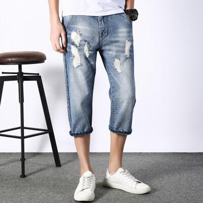 主推时尚牛仔七分裤 689 浅蓝 2套图