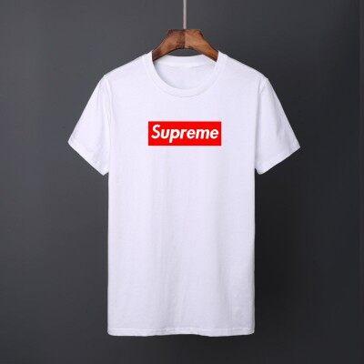 青少年男士短袖T恤竹节棉潮流个性夏天要Supreme
