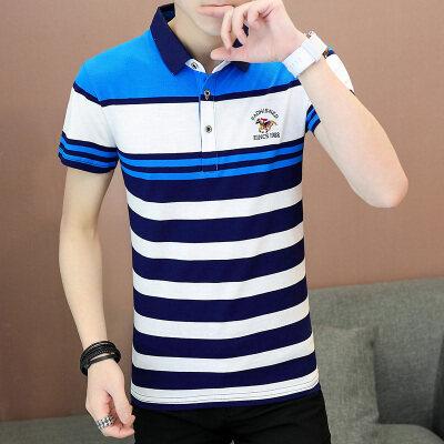 夏季男士短袖t恤横条纹 韩版修身翻领POLO半袖潮流男装体恤LG1803