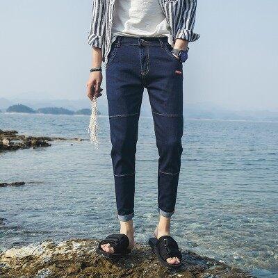 时尚靓仔牛仔九分裤501-1 浅蓝 深蓝 灰色 黑色 3套图