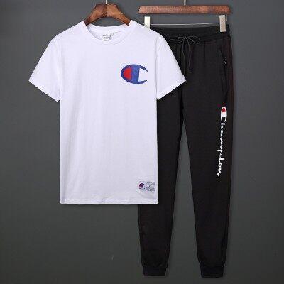 青少年学生潮流短袖套装长裤冰瓷棉T恤高品质男士champio