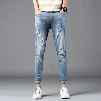 时尚潮牌 牛仔九分裤1803 浅蓝  多种图片风格