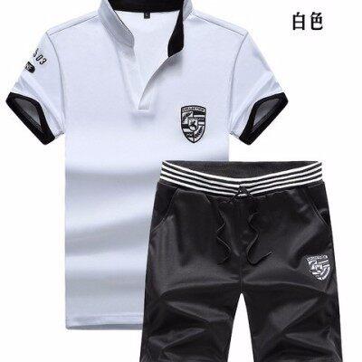 短袖男T恤2018夏季新款潮流休闲半袖套装