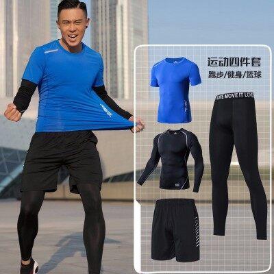 夏季健身服男紧身衣速干衣健身房跑步服晨跑运动套装篮球训练服装