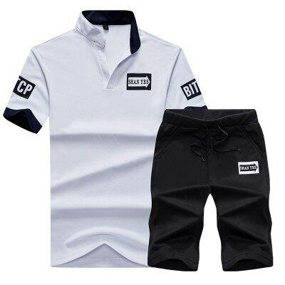 夏季新款立领短袖T恤打底衫短裤男士套装