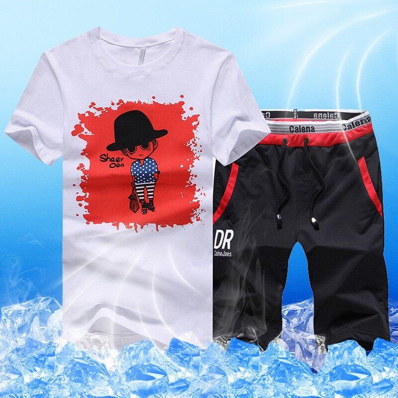 男士休闲时尚运动服套装2018新款夏季潮流短袖t恤精神小伙
