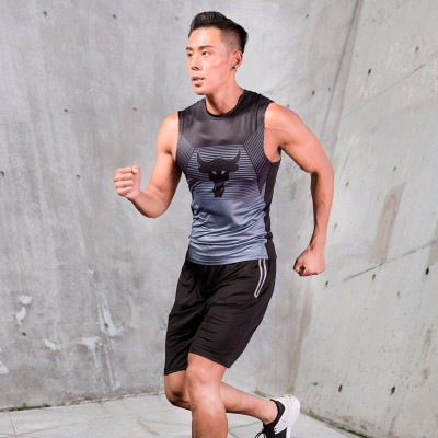 运动健身服套装男背心无袖速干紧身衣健身房晨跑步篮球训练夏季