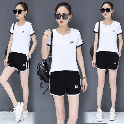 夏天短袖短裤运动套装女夏季两件套时尚大码跑步运动服休闲套装潮