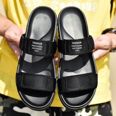 韩版潮板鞋新款魔术贴真皮凉鞋男编织带搭扣防滑耐磨露趾沙滩鞋
