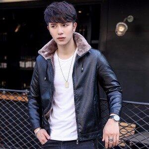 2018冬季新品男士皮衣韩版修身青年大码皮毛一体加绒加厚机车