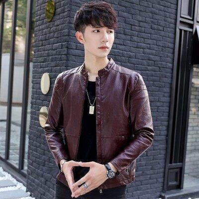 宾仕格调 秋冬新品男式皮衣韩版修身青年薄款皮夹克男加绒机车P