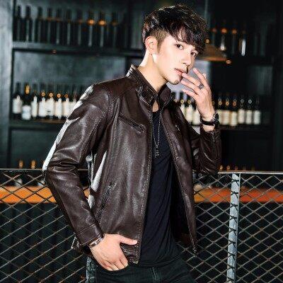 宾仕格调 2018秋冬新品男式皮衣韩版修身青年潮流皮夹克PU