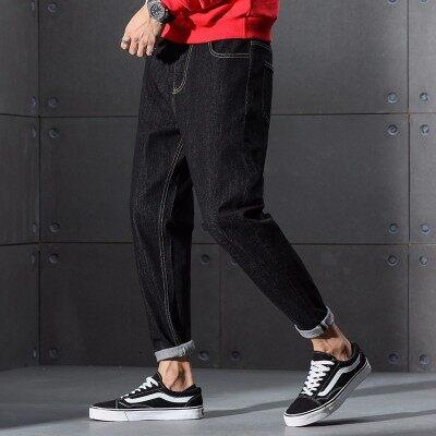 秋冬季牛仔裤男宽松休闲学生港风长裤潮流哈伦裤小脚黑色牛仔裤子