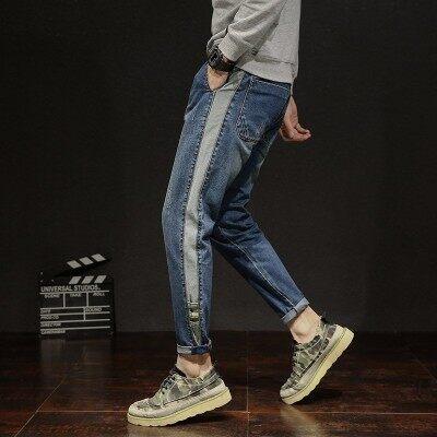 秋冬季牛仔裤男宽松休闲学生港风长裤潮流哈伦裤小脚牛仔裤子