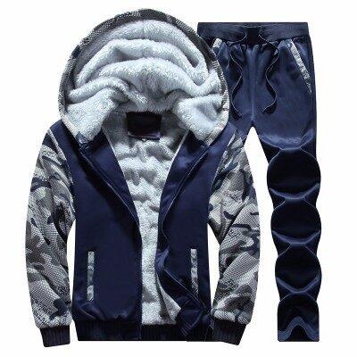 卫衣男连帽加绒加厚秋冬季新款青少年运动套装韩版男士保暖一外套