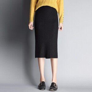 【主推】女装针织中长裙高弹力包裙秋冬款修身长裙不起球不褪色