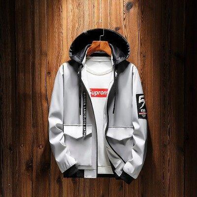夹克男韩版潮流春秋季男装修身中长款风衣男士外套